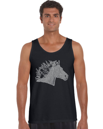 LA Pop Art Men's Word Art Tank Top - Horse Mane