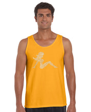 Load image into Gallery viewer, LA Pop Art  Men's Word Art Tank Top - Mudflap Girl - Keep on Truckin