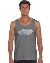 Load image into Gallery viewer, LA Pop Art Men's Word Art Tank Top - North Carolina