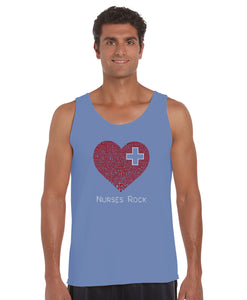 LA Pop Art Men's Word Art Tank Top - Nurses Rock
