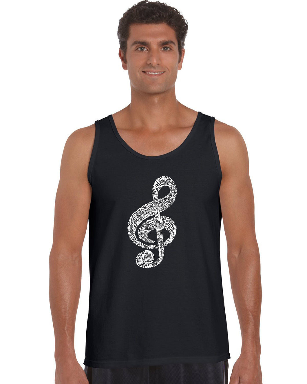 LA Pop Art  Men's Word Art Tank Top - Music Note