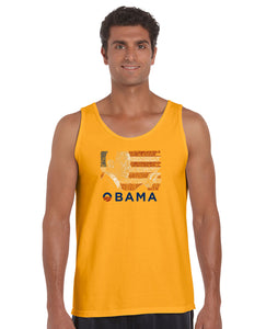 LA Pop Art Men's Word Art Tank Top - BARACK OBAMA - ALL LYRICS TO AMERICA THE BEAUTIFUL