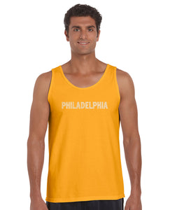 LA Pop Art Men's Word Art Tank Top - PHILADELPHIA NEIGHBORHOODS