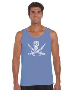 LA Pop Art Men's Word Art Tank Top - PIRATE CAPTAINS, SHIPS AND IMAGERY