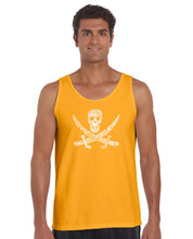 Load image into Gallery viewer, LA Pop Art Men's Word Art Tank Top - PIRATE CAPTAINS, SHIPS AND IMAGERY
