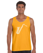 Load image into Gallery viewer, LA Pop Art Men's Word Art Tank Top - Sax