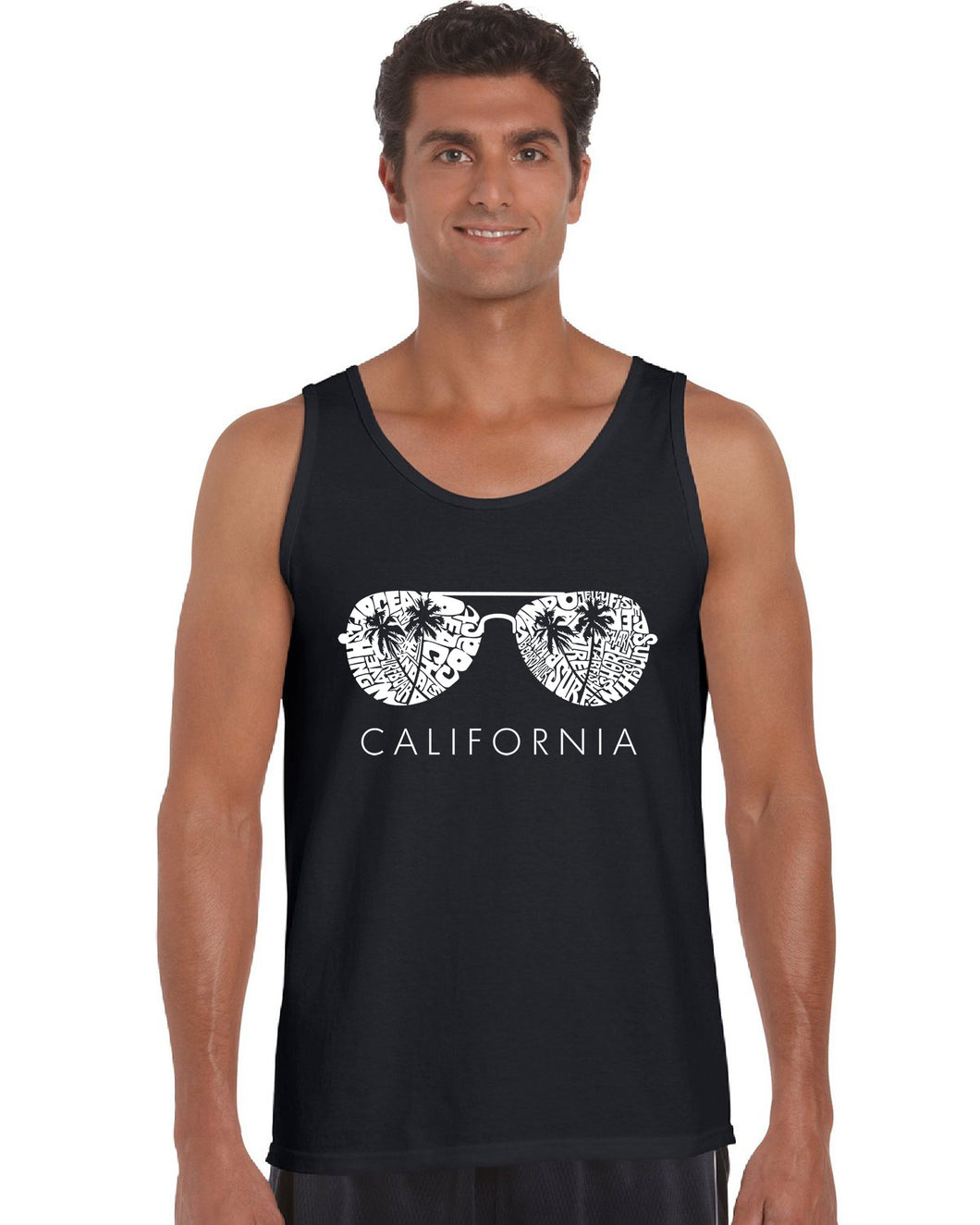 LA Pop Art Men's Word Art Tank Top - California Shades