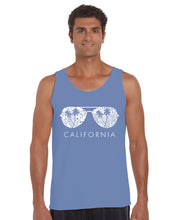 Load image into Gallery viewer, LA Pop Art Men's Word Art Tank Top - California Shades