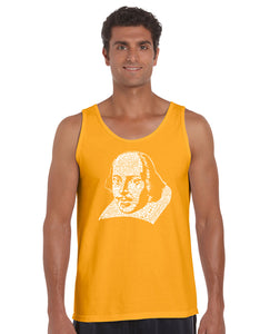 LA Pop Art Men's Word Art Tank Top - THE TITLES OF ALL OF WILLIAM SHAKESPEARE'S COMEDIES & TRAGEDIES