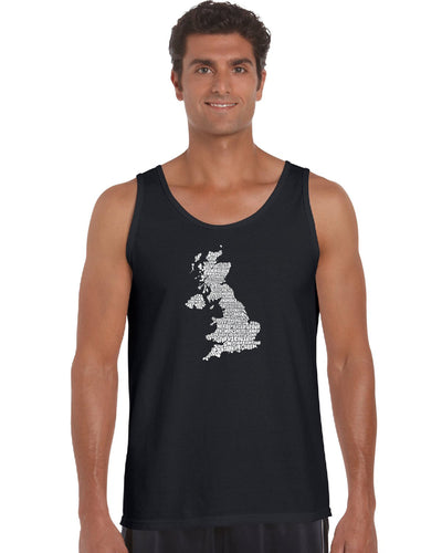 LA Pop Art Men's Word Art Tank Top - GOD SAVE THE QUEEN