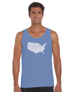 LA Pop Art Men's Word Art Tank Top - THE STAR SPANGLED BANNER