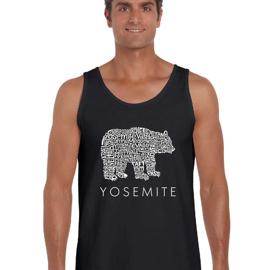 LA Pop Art  Men's Word Art Tank Top - Yosemite Bear