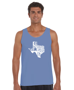 LA Pop Art Men's Word Art Tank Top - Everything is Bigger in Texas