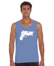 Load image into Gallery viewer, LA Pop Art Men's Word Art Tank Top - BROOKLYN GUN