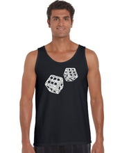 Load image into Gallery viewer, LA Pop Art Men's Word Art Tank Top - DIFFERENT ROLLS THROWN IN THE GAME OF CRAPS