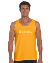 Load image into Gallery viewer, LA Pop Art Men's Word Art Tank Top - POPULAR CITIES IN FLORIDA