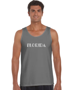 LA Pop Art Men's Word Art Tank Top - POPULAR CITIES IN FLORIDA