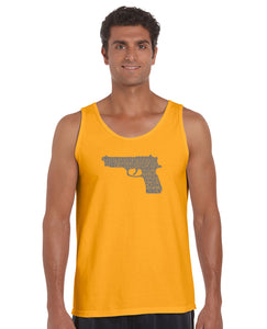 LA Pop Art Men's Word Art Tank Top - RIGHT TO BEAR ARMS