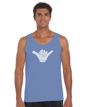 Load image into Gallery viewer, LA Pop Art Men's Word Art Tank Top - TOP WORLDWIDE SURFING SPOTS