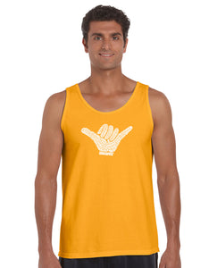 LA Pop Art Men's Word Art Tank Top - TOP WORLDWIDE SURFING SPOTS