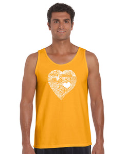LA Pop Art Men's Word Art Tank Top - LOVE IN 44 DIFFERENT LANGUAGES