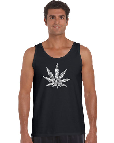 LA Pop Art Men's Word Art Tank Top - 50 DIFFERENT STREET TERMS FOR MARIJUANA