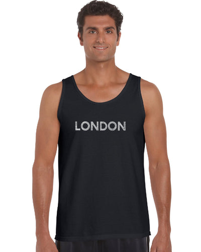 LA Pop Art Men's Word Art Tank Top - LONDON NEIGHBORHOODS