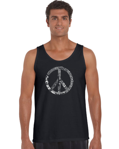 LA Pop Art Men's Word Art Tank Top - PEACE, LOVE, & MUSIC