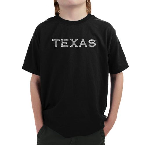 LA Pop Art Boy's Word Art T-shirt - THE GREAT CITIES OF TEXAS