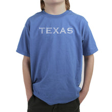 Load image into Gallery viewer, LA Pop Art Boy's Word Art T-shirt - THE GREAT CITIES OF TEXAS