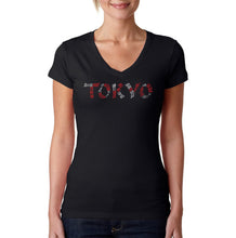 Load image into Gallery viewer, LA Pop Art Women's Word Art V-Neck T-Shirt - THE NEIGHBORHOODS OF TOKYO