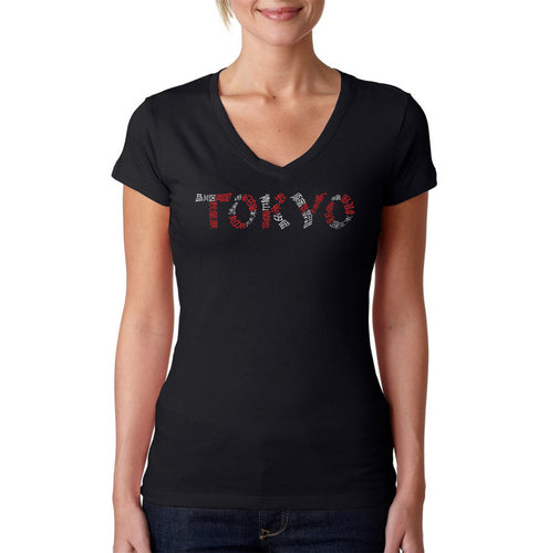 LA Pop Art Women's Word Art V-Neck T-Shirt - THE NEIGHBORHOODS OF TOKYO