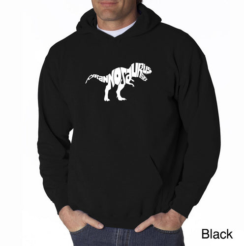 LA Pop Art Men's Word Art Hooded Sweatshirt - TYRANNOSAURUS REX