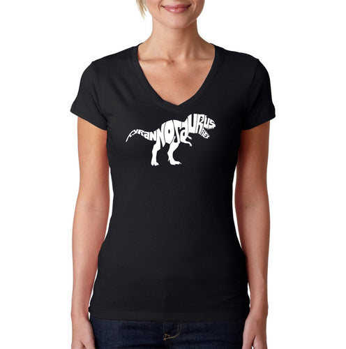 LA Pop Art Women's Word Art V-Neck T-Shirt - TYRANNOSAURUS REX