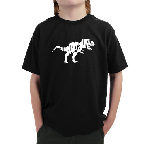 LA Pop Art Boy's Word Art T-shirt - TYRANNOSAURUS REX