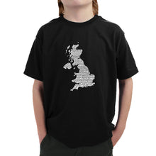 Load image into Gallery viewer, LA Pop Art Boy's Word Art T-shirt - GOD SAVE THE QUEEN