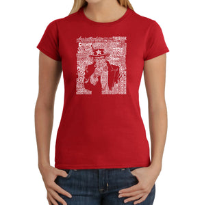 LA Pop Art Women's Word Art T-Shirt - UNCLE SAM