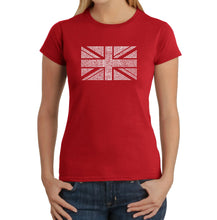 Load image into Gallery viewer, LA Pop Art Women's Word Art T-Shirt - UNION JACK