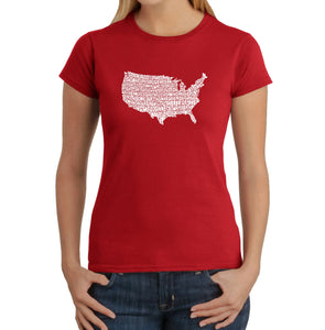 LA Pop Art Women's Word Art T-Shirt - THE STAR SPANGLED BANNER