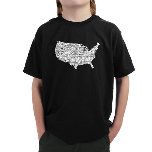 LA Pop Art Boy's Word Art T-shirt - THE STAR SPANGLED BANNER