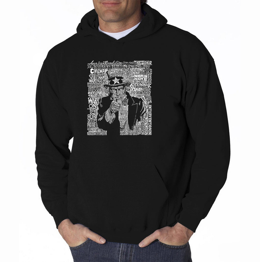 LA Pop Art Men's Word Art Hooded Sweatshirt - UNCLE SAM