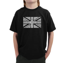 Load image into Gallery viewer, LA Pop Art Boy's Word Art T-shirt - UNION JACK