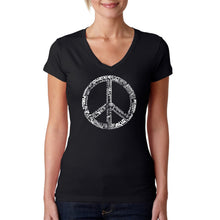 Load image into Gallery viewer, LA Pop Art Women's Word Art V-Neck T-Shirt - THE WORD PEACE IN 77 LANGUAGES