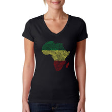 Load image into Gallery viewer, LA Pop Art Women's Word Art V-Neck T-Shirt - Countries in Africa