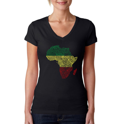 LA Pop Art Women's Word Art V-Neck T-Shirt - Countries in Africa