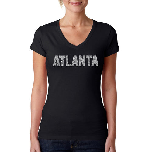LA Pop Art Women's Word Art V-Neck T-Shirt - ATLANTA NEIGHBORHOODS