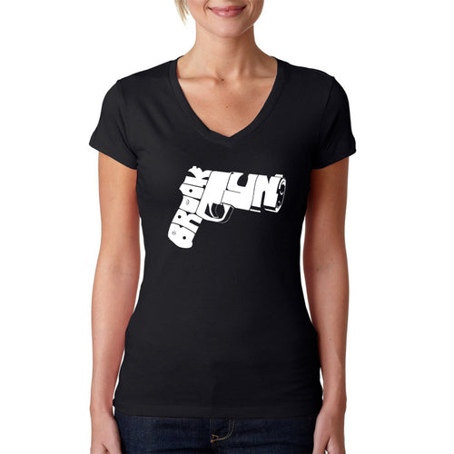 LA Pop Art Women's Word Art V-Neck T-Shirt - BROOKLYN GUN