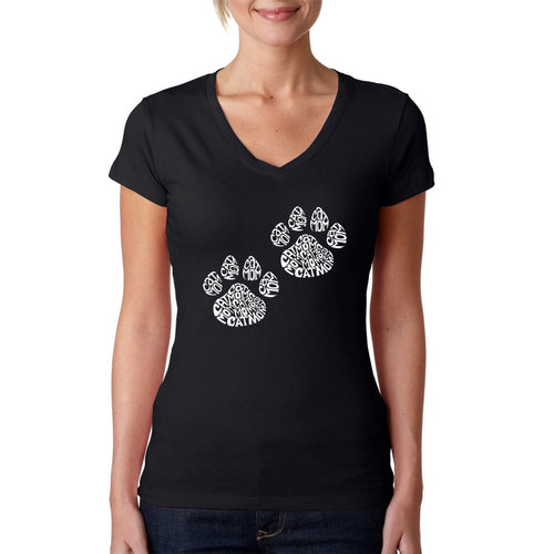LA Pop Art Women's Word Art V-Neck T-Shirt - Cat Mom