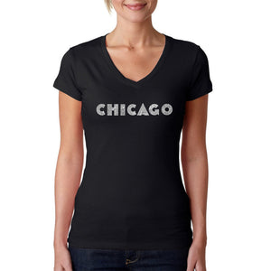 LA Pop Art Women's Word Art V-Neck T-Shirt - CHICAGO NEIGHBORHOODS