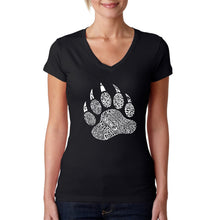 Load image into Gallery viewer, LA Pop Art  Women's Word Art V-Neck T-Shirt - Types of Bears